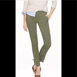 J Crew seamed motorcycle army green pants